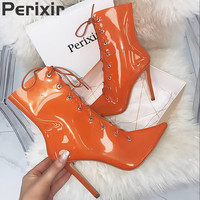 Perixir 2019 New Transparent Boots Clear Chunky heels Mujer Thin heel Women Boots Lady Sexy Party Summer Boots Lace Up boots