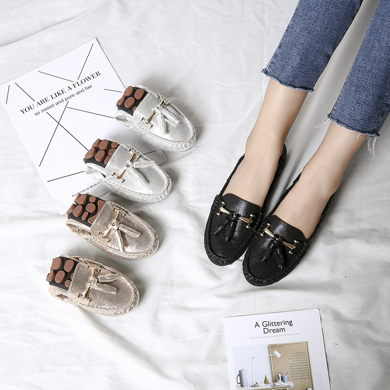 Goldsilver sequined cloth flat fringe cozy shoes lazy moccasins women big size 35-42 metal decorate driving shoes flats creeper