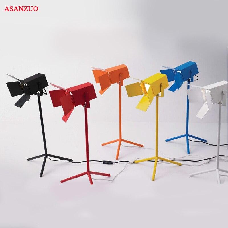 Американский исследования настольная лампа Регулируемый Утюг Спальня свет черный/белый/красный/оранжевый/желтый/синий украшение светодио... ...