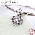 Authentic 925 de prata Pave Zircon trevo encantos Fit pulseiras flor oscila charme pingentes Diy jóias