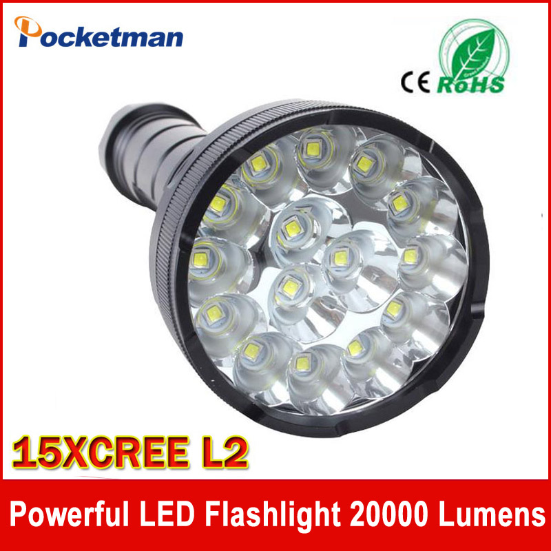 ФОТО Powerful LED Flashlight 20000 Lumens Lanterna led linternas Torch 15 x CREE XM-L2 LED Waterproof Super Bright LED Flashlight