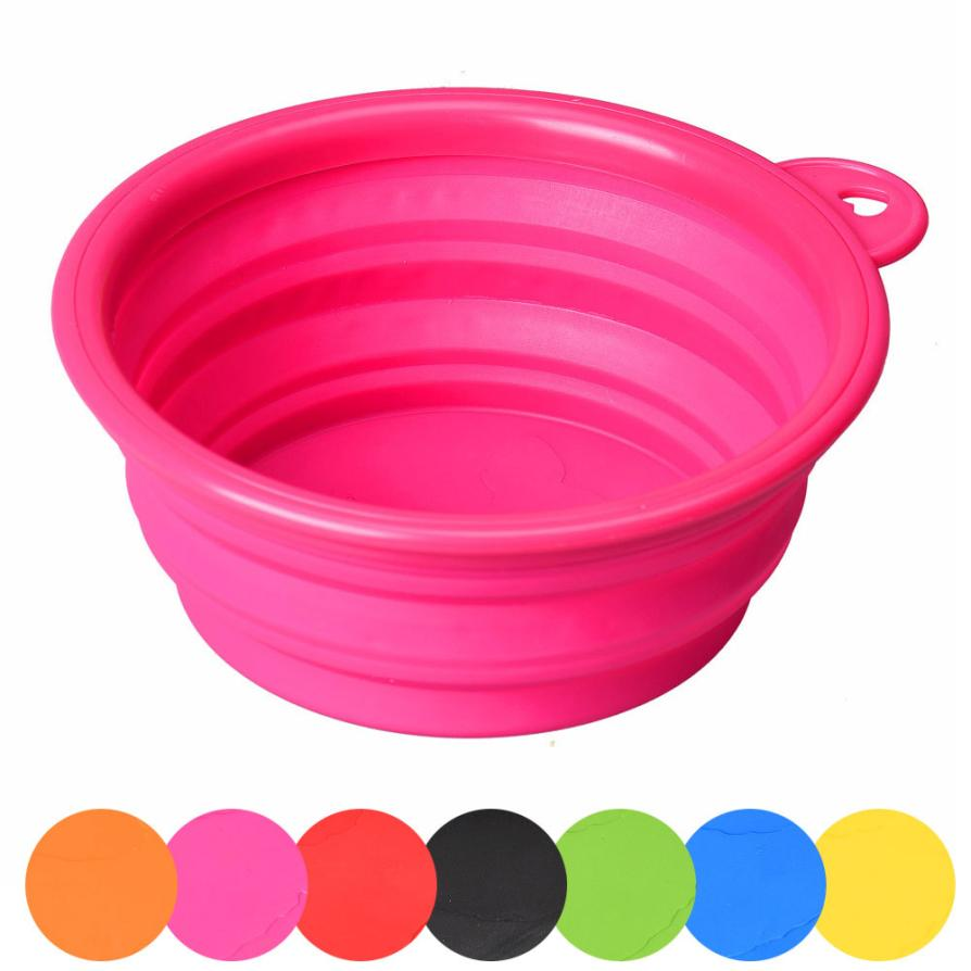 Newpet Dog Cat Pet Silicone Collapsible Travel Feeding Bowl Water Dish Feeder  Levert Dropship Dig2