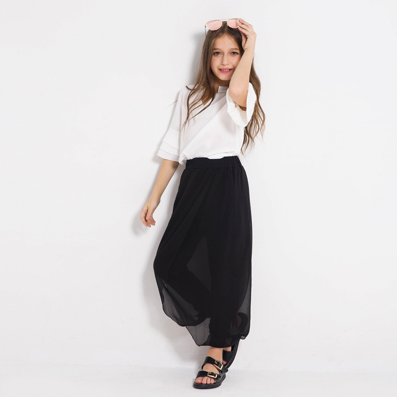Teen Girls' Clothing Sets Kids Blouse Pants Two-piece Suits Chiffon White Tops Black Trousers Loose Summer Suits for 6-14y meifeier 407 women s fashionable knitted chiffon blouse apricot l
