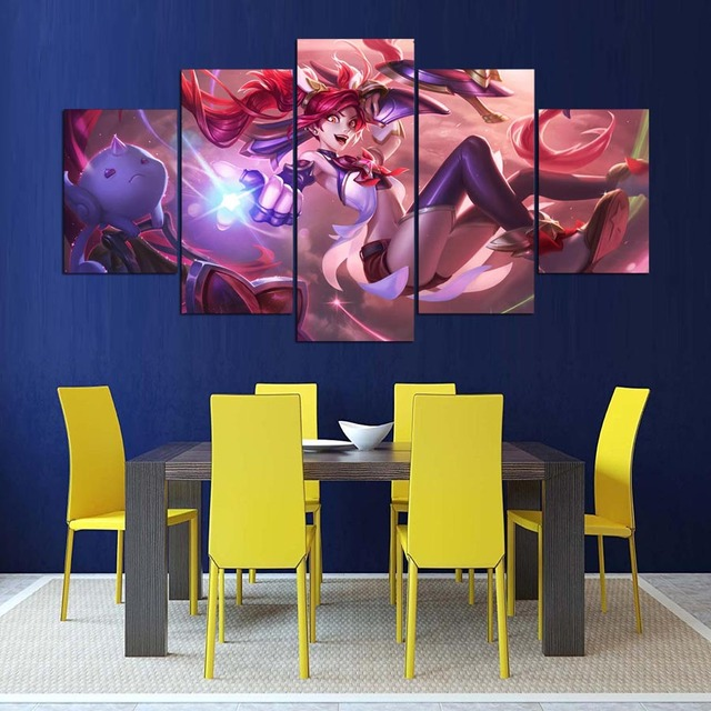 5 Panels Classic Game League of Legends Figure Poster Wall Picture Canvas Paintings For Living Room  2