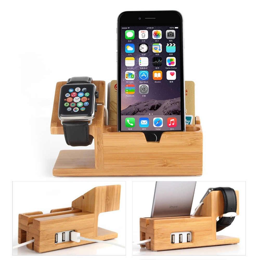 3 puertos de carga USB, de Madera de bambú de muelle de carga organizador reloj cargador soporte de soporte para iPhone/para Apple Watch