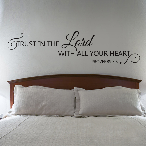 Trust in the lord religious vinyl wall quote proverbs 35 christian lettering wall decal sticker 9x34 in wall stickers from home garden on
