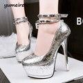 Bombas sexy plataforma de los tacones altos bombas zapatos de boda de plata de oro zapatos de fiesta para las mujeres bombas tachonado tacones para mujer zapatos de tacones X142