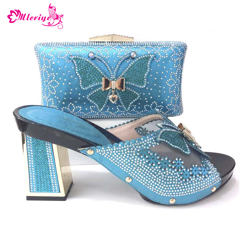2018 Free shipping High Pumps s.blue newest fashion African wedding Italian shoes and bag matching set to match lace dress cd158 1 free shipping hot sale fashion design shoes and matching bag with glitter item in black