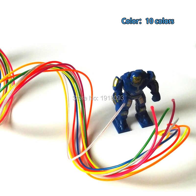Новейшая модель; 2,3 мм 1 м 10 штук пользовательские цвета гибкие электролюминесцентный провод el провода мигание неоновый светящийся для Светодиодные ленты с узором в виде игрушек
