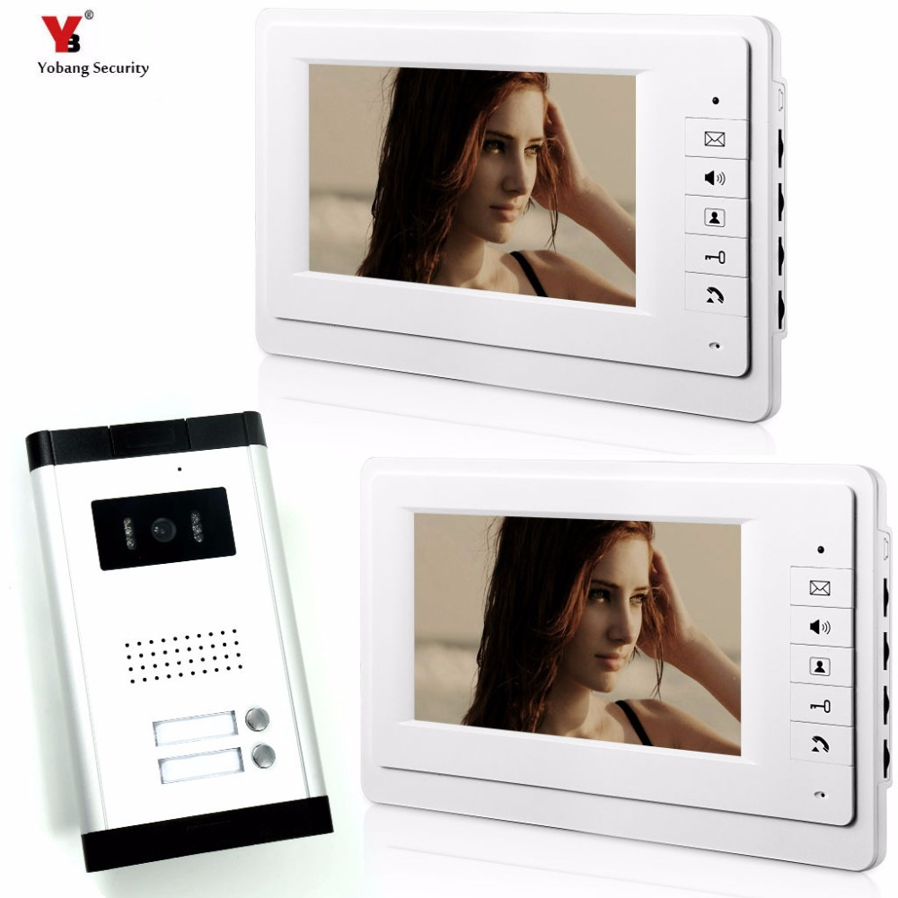 Yobang Security 2 Units Apartment Video Intercom 7 Inch Wired Video Door Phone Visual Intercom Doorbell with 2 Monitor+1 Camera yobang security 7 inch video door phone visual doorbell doorphone intercom kit with metal villa outdoor unit door camera monitor