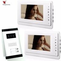 Yobang Security 2 Units Apartment Video Intercom 7 Inch Wired Video Door Phone Visual Intercom Doorbell