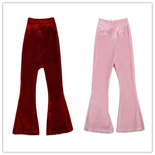 Toddler Kids Baby Girls Clothes Cute Solid Warm Bell Bottom Wide Leg Stretch Velvet Pants Trousers Kids Baby Girl Clothes 1-5T