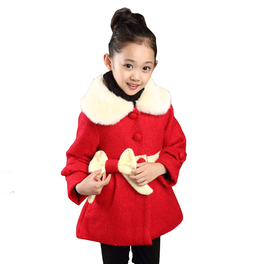 2015 Jackets Girls Winter Coat Bow Fur Collar Coats Slim Single Breasted Long Wool Kids Girl Fashion Clothes - Watch$Beads store