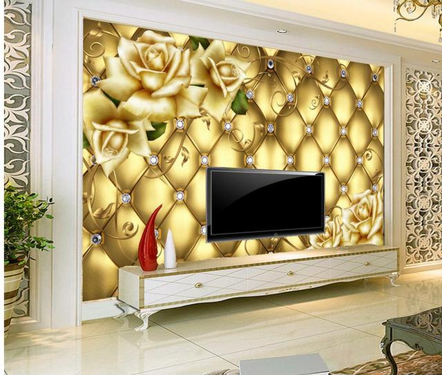 3d customized wallpaper Golden flower background wall painting Home ...