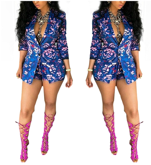 85e4e1fb767b Blue Flower Floral Print Jumpsuit Sexy 2 Piece Romper Shorts 2018 Fall New  Work Wear Office Lady Formal Blazer And Shorts Set