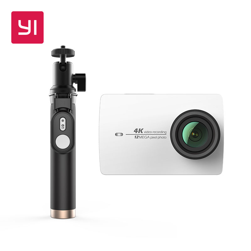 YI 4K Action Camera Selfie Stick Bundle International Version Ambarella Screen