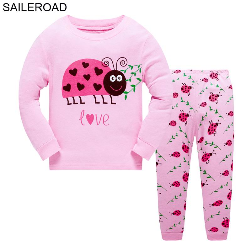 SAILEROAD 2-7Years Nightwear Pijamas Warm for Baby Sleepwear Girl Autumn Children's Ladybird   Pajamas     Sets   Kids Fall Clothes   Sets