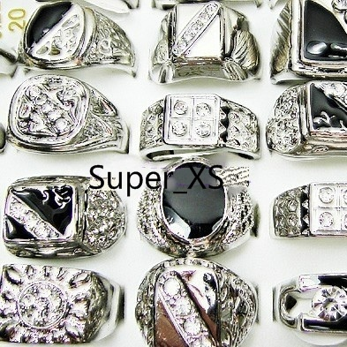 100Pcs Whole Jewelry Fashion Enamel Silver Plated Rings Lots For Men Ring Bulk Packs Free Shipping