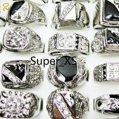 100 sztuk całej biżuterii moda emalia posrebrzane pierścienie wiele dla mężczyzn pierścień opakowaniach zbiorczych darmowa wysyłka RL009 w Pierścionki od Biżuteria i akcesoria na  Grupa 1