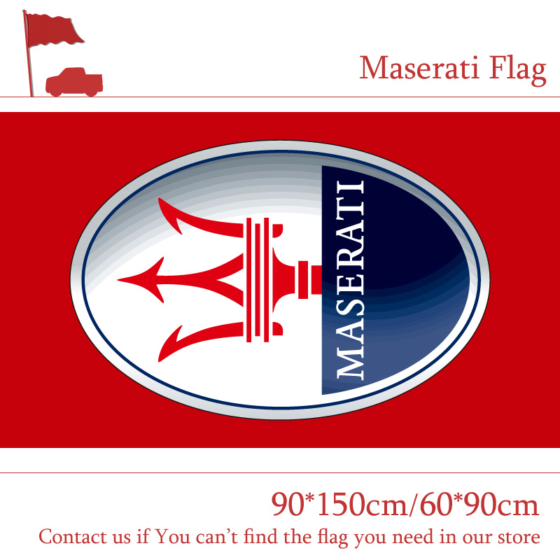 90*150cm 60*90cm Polyster Maserati Red Car Flag Out Door Use For Racing Banner Digital Print