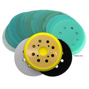 Image 5 - 20Pcs 5 Pollici 125 millimetri 8 Fori Carta Vetrata Umido e Secco 60 a 2000 Grane Gancio e Anello Verde pellicola di Levigatura Disco di Fogli di PET Utensili Abrasivi