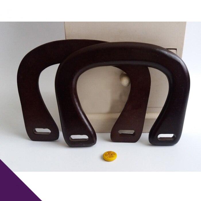 Two Pieces Per Lot  Size16X11cm Dark Brown U Shape Wood Obag Handle Wholesale DIY Handbags Accssories Sangle Sac Wood Bag Handle
