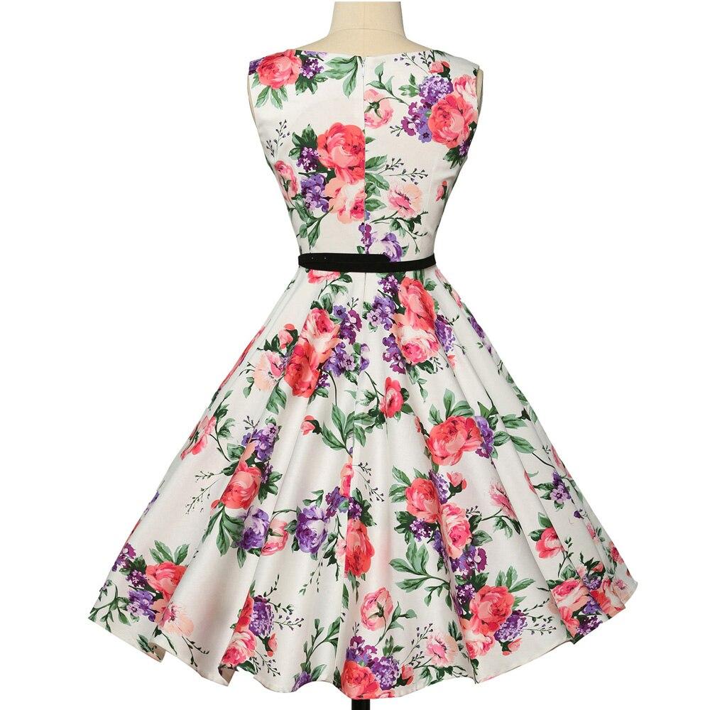 Wanita musim panas dress 2018 wanita floral retro vintage dresses 50 - Pakaian Wanita - Foto 2