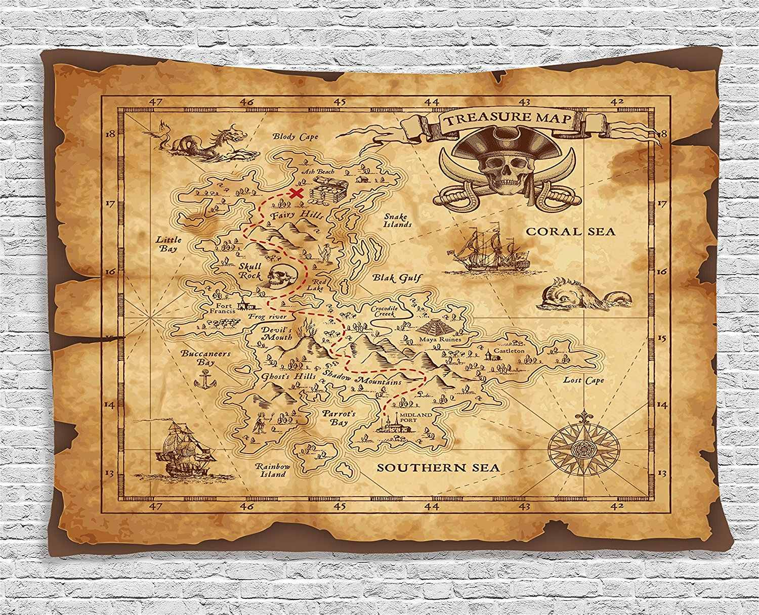 Island Map Decor Tapestry Super Detailed Treasure Map Grungy Rustic Pirates Gold Secret Sea History Theme Wall Hanging