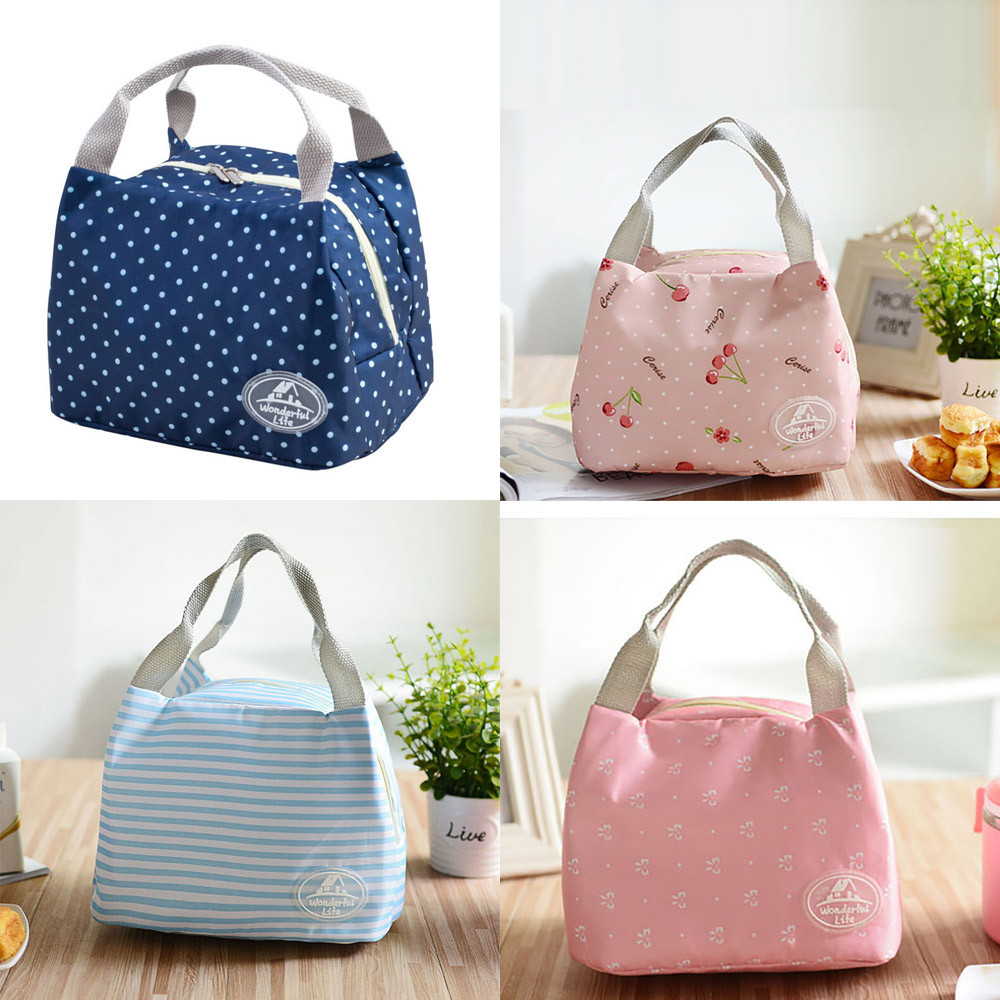 PORTABLE WOMEN LUNCH BAGS INSULATED THERMAL COOLER BOX TOTE PICNIC STORAGE CASE