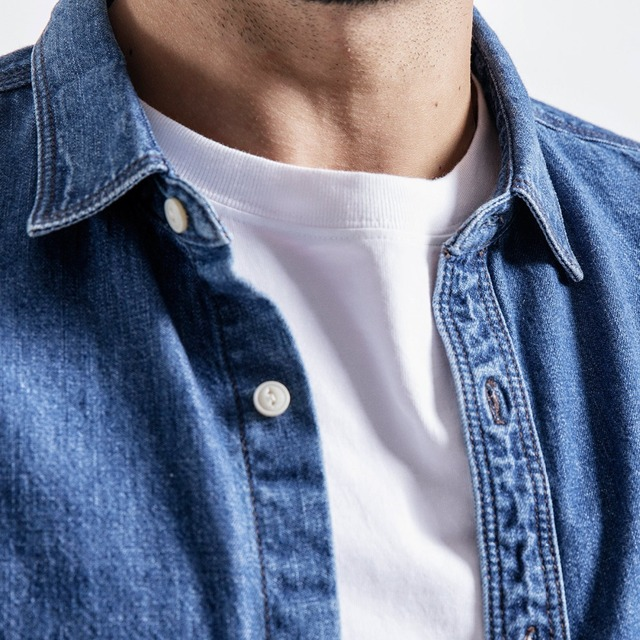 Men's Denim Shirts Long Sleeve Casual Letter Embroidered