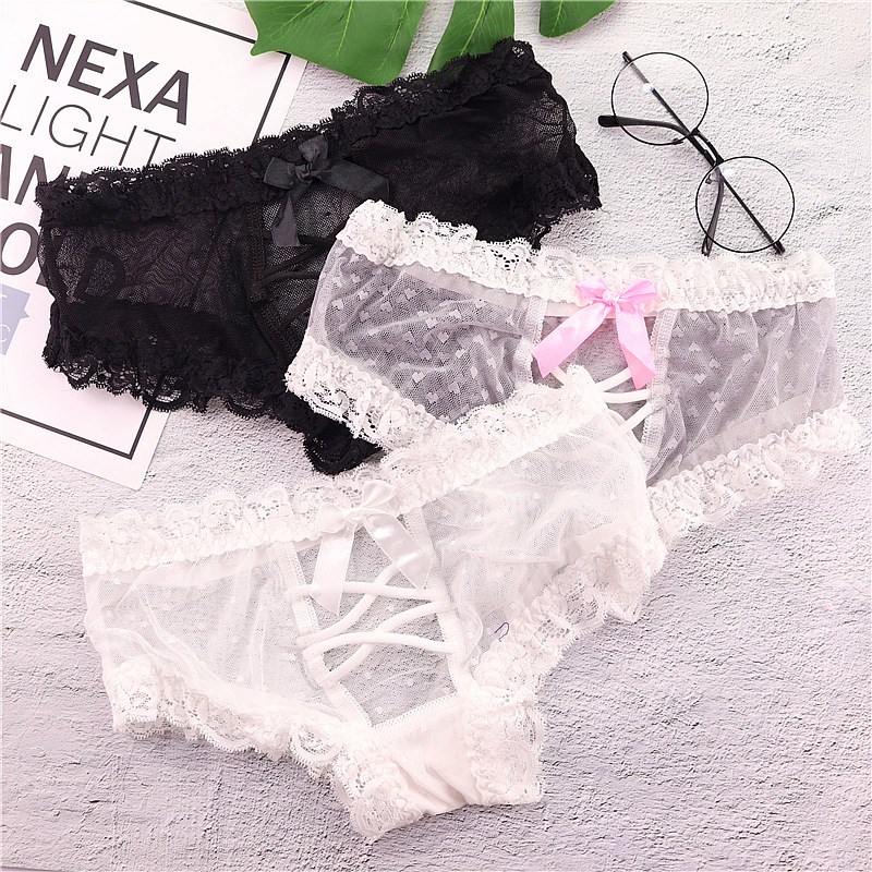 SP&CITY Bow Straps Design Women Lace Underwear Girl Cute Panties Sex Thongs Crotch Cotton Briefs Female Transparent Underwear
