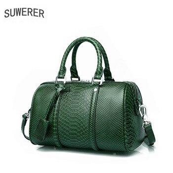 2020 New women bag Genuine Leather handbags brands women leather bags cowhide fashion totel women handbag shoulder Boston bag