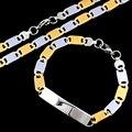 Atacado conjuntos de jóias aço inoxidável 316L Gothic Biker Retro clássico pulseiras de identificação colar para mulheres dos homens partido presentes LJS099