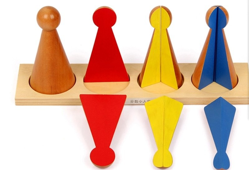 Free Shipping!Montessori Fraction Skittles with Stand Toys Educatinoal Early Learning Toys Wooden Baby Toys