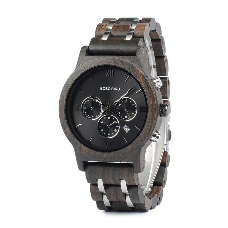 Бобо птица Для мужчин деревянные часы Новый Специальный дерева и металла Дизайн роскошные часы Наручные часы relogio masculino всего B-P19