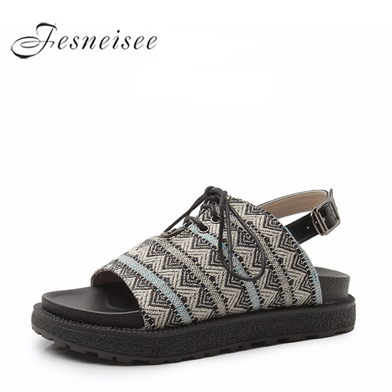 FESNEISEE Summer Gladiator Sandals Women Genuine Leather Flat Fashion Women Shoes Casual Occasions Comfortable Female Sandals 6 summer casual platform women sandals ladies bohemia gladiator sandals comfortable women shoes female flat with footwear hbt706