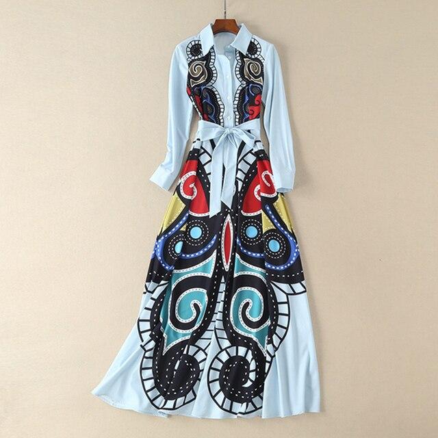 מסלול מעצב חדש שמלת גברת 2018 קיץ באיכות גבוהה הדפסת תורו למטה צווארון ארוך שרוול Slim נשים רצפת אורך מקסי שמלה