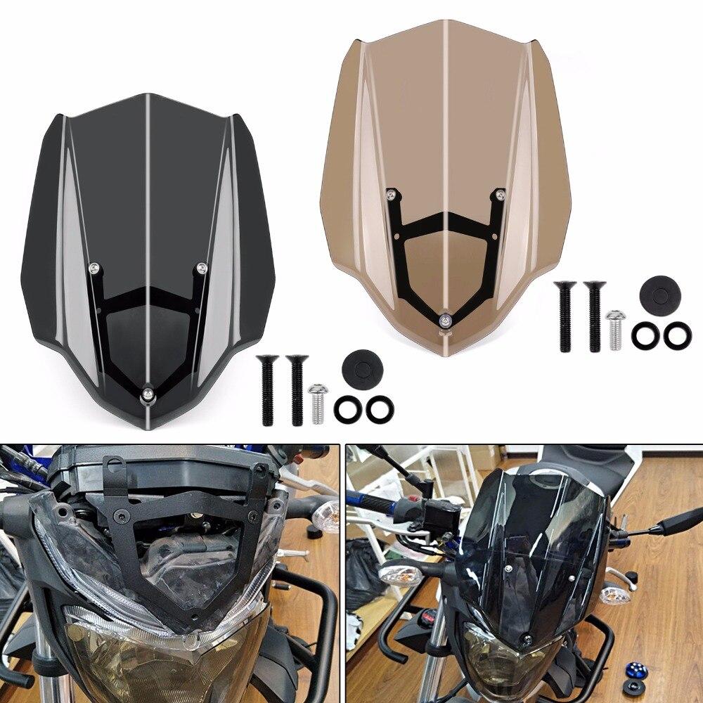 Areyourshop Moto Pare-Brise Pare-Brise avec le Mont Support Pour Yamaha MT-03 FZ-03 2017 1 PCS Moto Styling Couvre