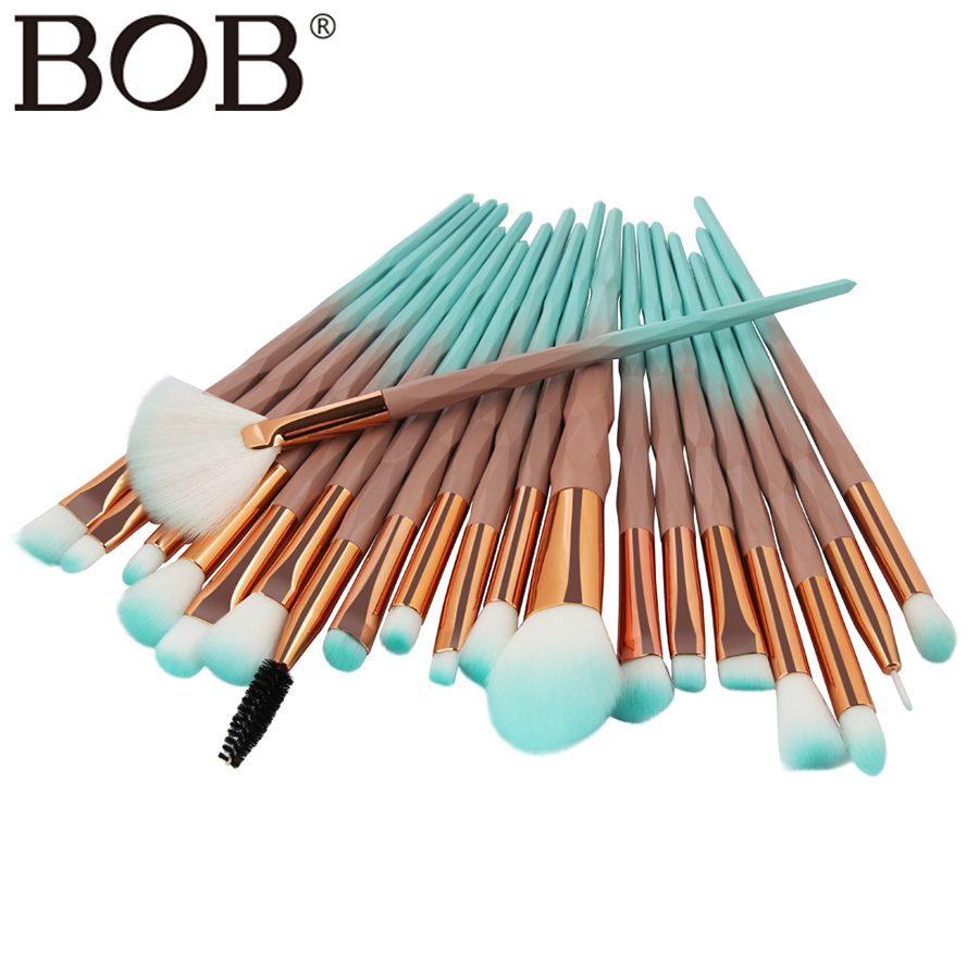 BOB Brand 20Pcs Makeup Brushes Tools Professional Makeup Brushes Set Powder Foundation Eyeshadow Make Up Brushes Cosmetics Brush 8pcs makeup brushes cosmetics eyeshadow eyeliner brush kit 15 color concealer facial care camouflage makeup palette sponge puff