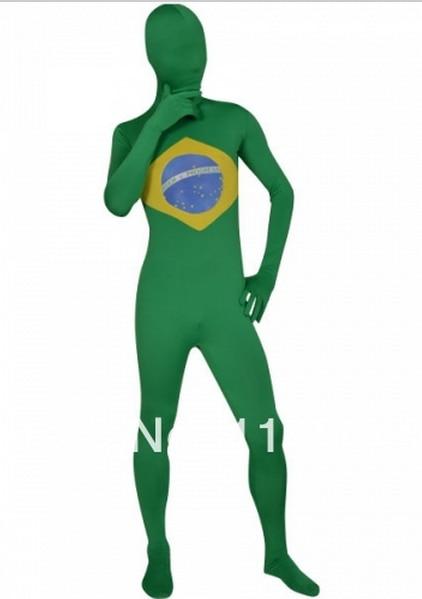 Brazil Flag Zentai Second Skin Suit Fancy Dress Costume Spandex Lycra