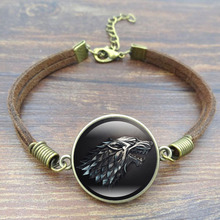 Fashion Glass Cabochon Vintage Brown Rope Bracelet Movie font b Of b font Ice and Fire