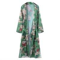 Bloemenprint Sjerpen Vintage Etnische Kimono Shirt Vrouwen 2018 Fashion Vest Lange Blouse Tops Blusas Chemise Femme Losse Blusas
