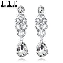 2018 Rhinestone Plant Glass Drop Earrings with Stones Tassel Earrings for Women Wedding Silver Color Earrings Gifts недорого