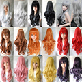 7 colors Cosplay  Anime Long Wavy Curly Red Wig neat bang  Heat Resistant Synthetic Hair Wigs Party Perucas