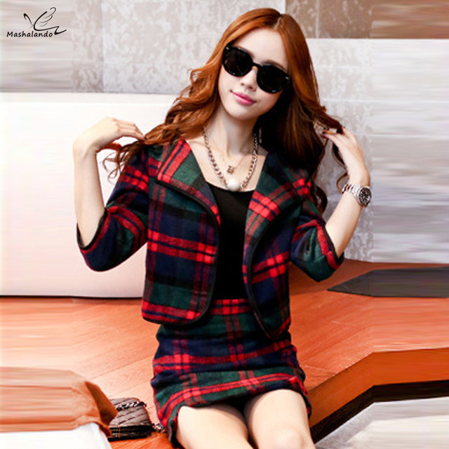 2016 Autumn Winter two piece skirt suits Jacket women slim Plaid wool tweed coats with long sleeves