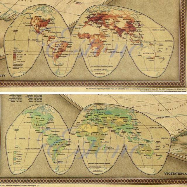 Pc Large Size Vintage Retro Paper World Map Poster Wall Chart - Retro world map poster
