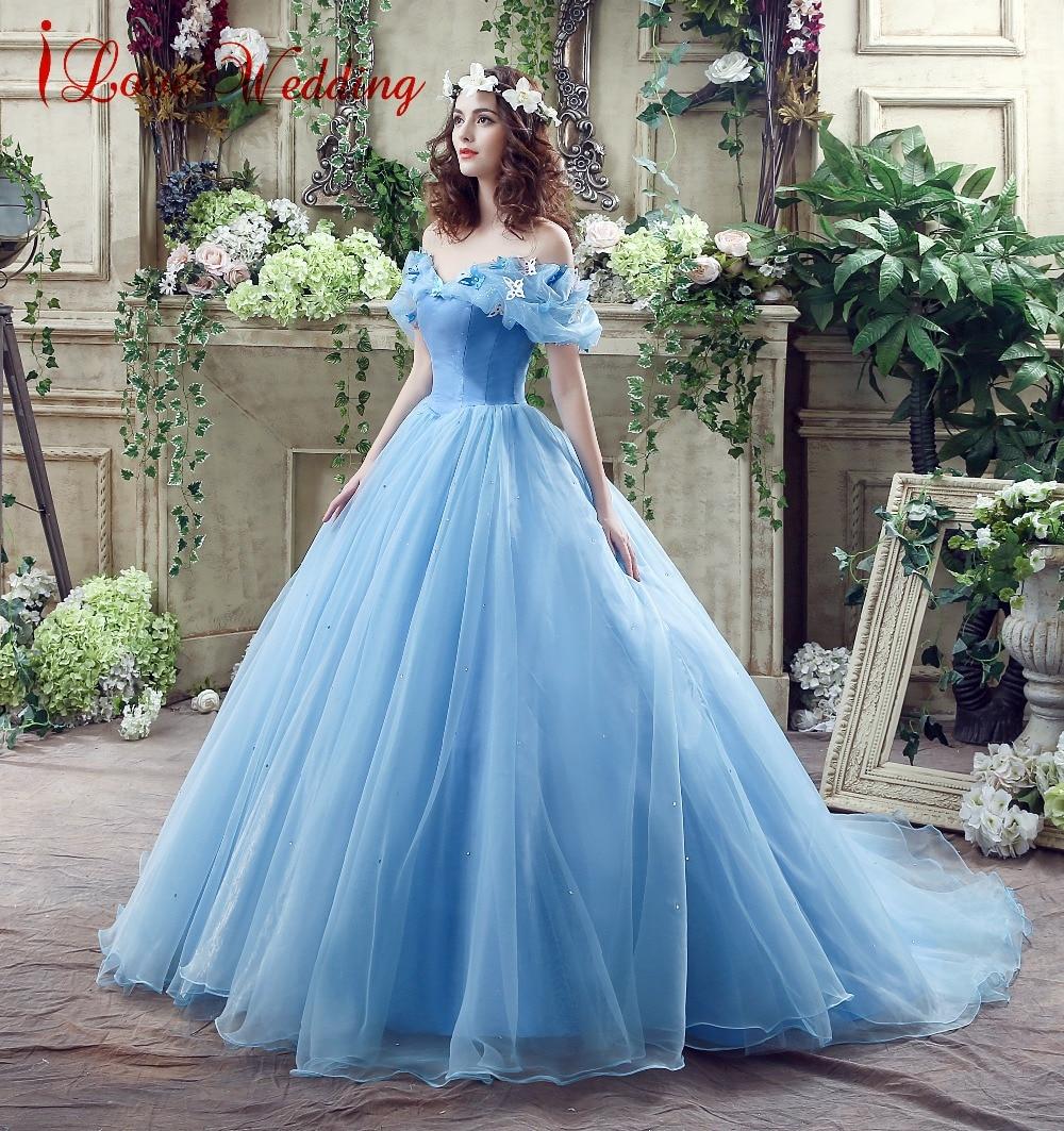 2019 Blauwe baljurk Prom Dress Nieuwe film Princess Cinderella - Jurken voor bijzondere gelegenheden - Foto 3
