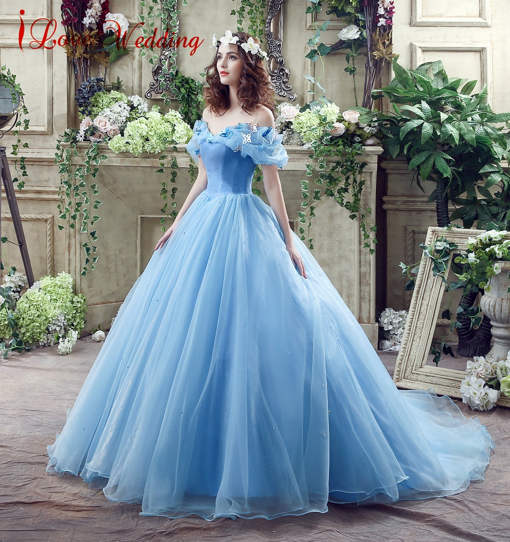 Vintage Blue Ball Gown Prom Dress New Movie Princess Cinderella ...