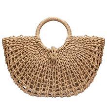 Half Moon Hand Straw Rattan Braided Woven Tote Bag Bohemian Summer Beach Bags Hollow Handbag For Women Female Handbags