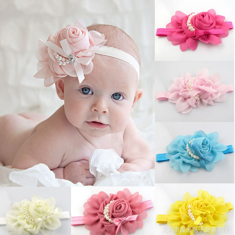 Baby Flower Headband White pearl Solid Color Girl Children Infant Baby Hairband Hair Accessories For Girls Princess Hairband retail triple satin flower rosettes feather baby headband vintage burlap lace hairband kidocheese